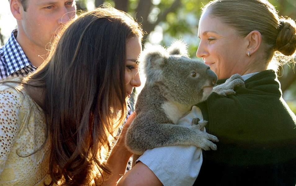 Kate en profite pour faire un gros câlin à un koala