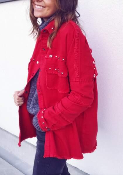 Veste en jean rouge modèle Lina, Easy Clothes, 39 euros