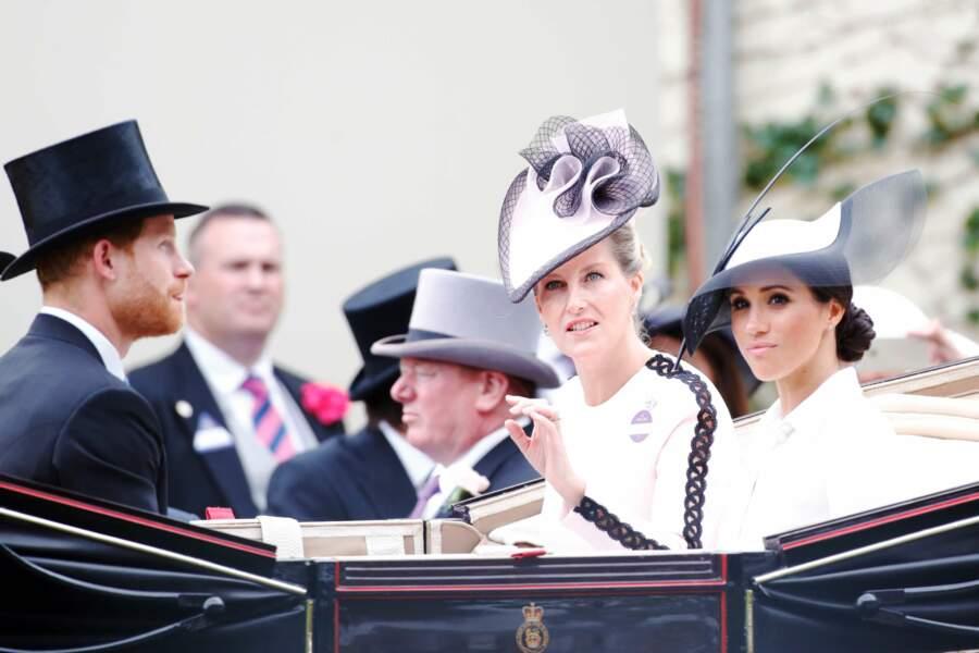 Royal Ascot : le prince Harry, Meghan Markle et la comtesse de Wessex Sophie