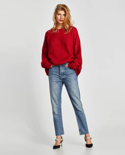 Zara : Pull XL rouge, 29,99 euros au lieu de 39,95 euros