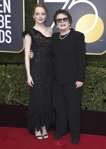 Emma Stone et Billie Jean KIng lors de la 75e cérémonie des Golden Globes, le 7 janvier 2018