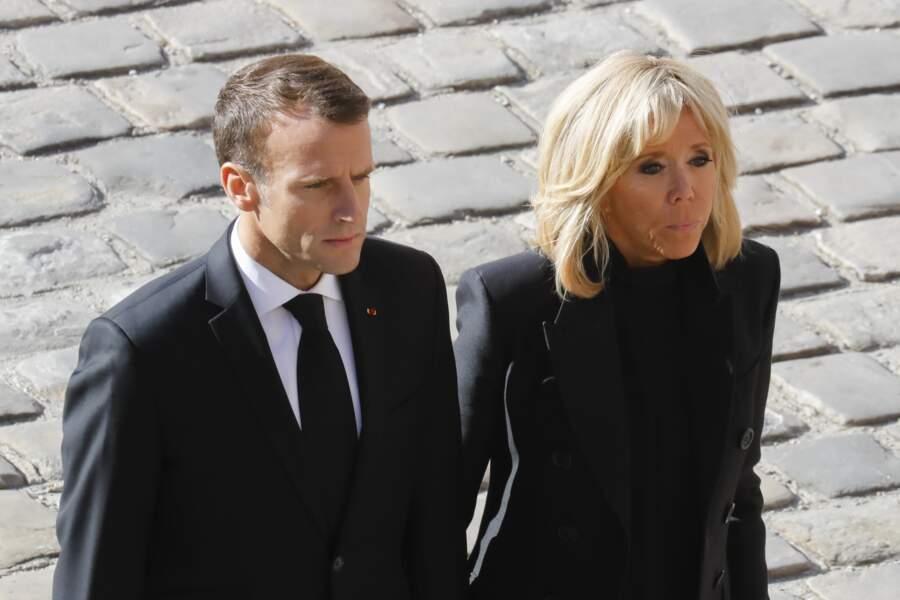 Emmanuel et Brigitte Macron à l'hommage national à Charles Aznavour