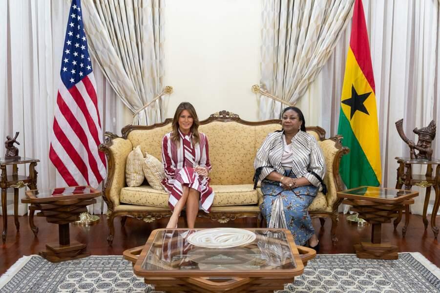 Melania Trump a été reçue par Rebecca Akufo-Addo, la First Lady du Ghana.