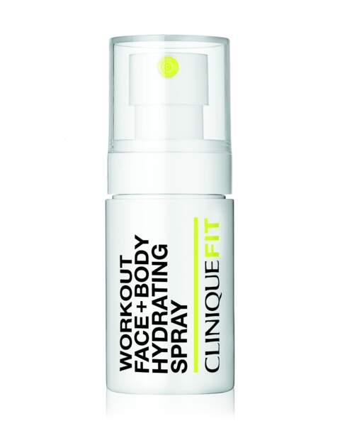 Spray hydratant toute épreuve visage et corps, Clinique Fit, 18,50 euros