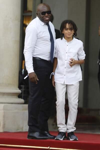 Les Bleus à l'Elysée après leur victoire : Wilfried et Ethan Mbappé, le père et le frère de Kylian Mbappé