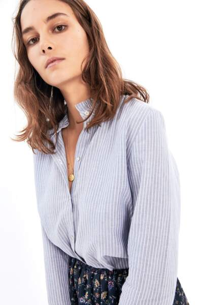 Balzac Paris : Chemise Lola bleue à rayures