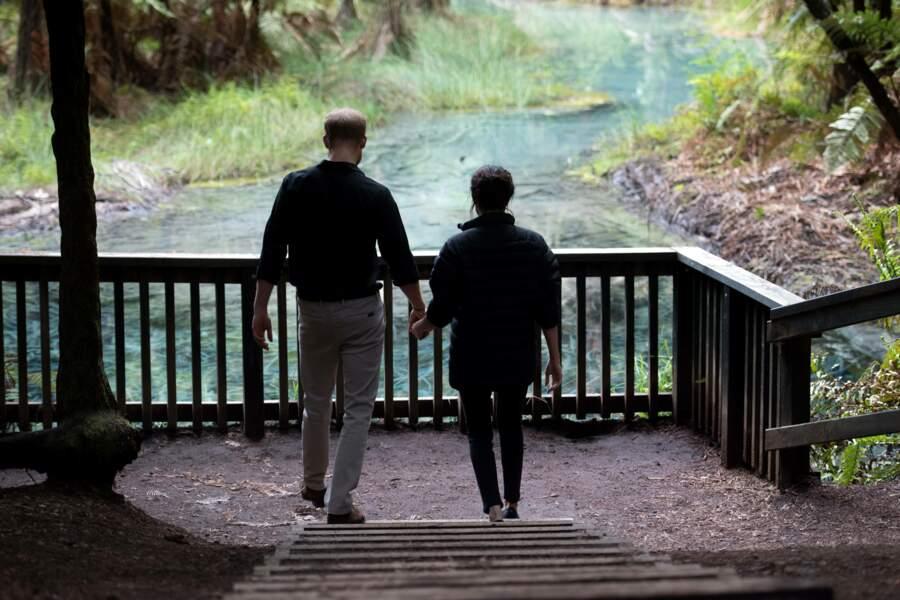 Meghan Markle et le prince Harry parcourent le parc de Rotorua main dans la main