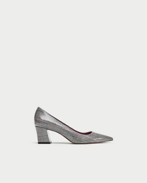 Escarpins à carreaux, Zara, 39,95€