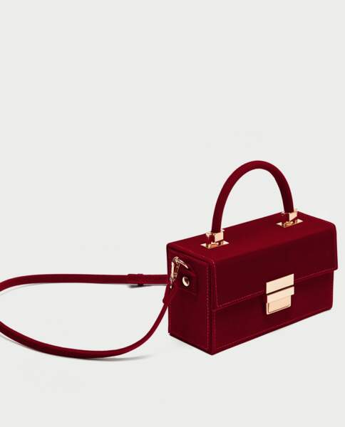 Sac boîte en velours côtelé, Zara, 39,95€