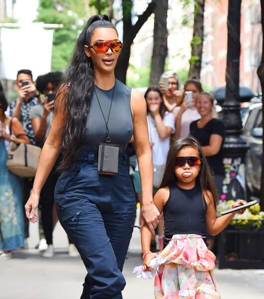 Kim Kardashian et North West dans le quartier de SoHo, à New York