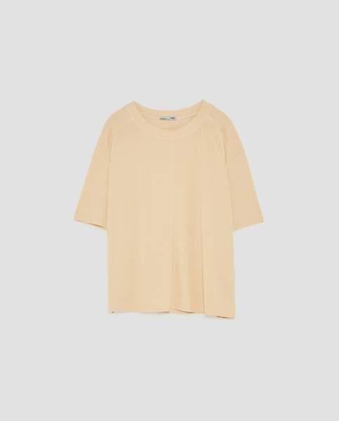 Zara : T-shirt à manches courtes côtelé, 9,99 euros au lieu de 15,95 euros