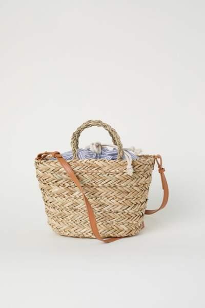 Sac en paille avec sac textile, H&M, 22,99 euros