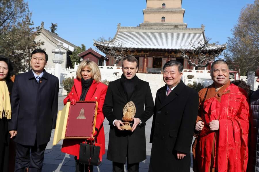 Emmanuel Macron et Brigitte Macron à la Grande pagode de l'oie sauvage