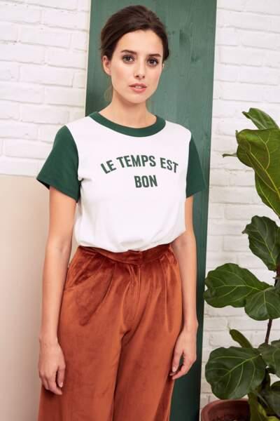 """Collection Wear Lemonade, T-shirt """" Le temps est bon """", 35€"""