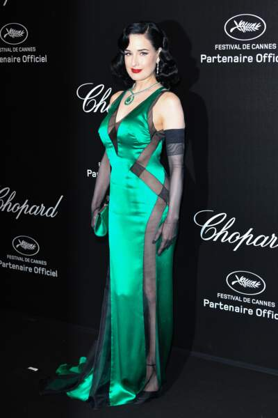 Dita Von Teese lors de la soirée Chopard organisée au festival de Cannes le 17 mai 2019