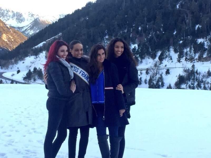 Miss France à la montagne : Delphine Wespiser, Alicia Aylies, Malika ménard et Flora Coquerel