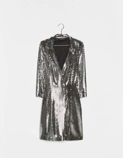 Veste de tailleur coupe robe métallisée, Bershka, 45,99€