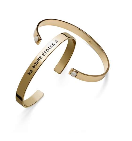 Bracelets. Gravés, 35€ chaque, Agatha.