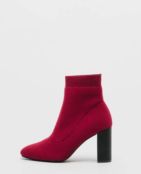 Bottines chaussettes rouges, Pimkie, 39,99€