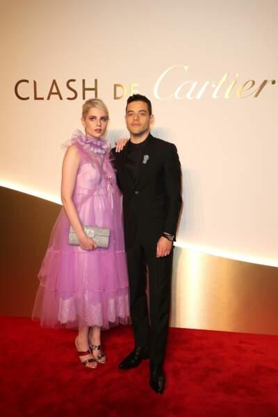 Lucy Boynton et Rami Malek au dîner Cartier, le 10 avril 2019 à la Conciergerie de Paris