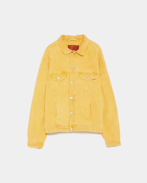 Veste en jean jaune, Zara, 39,95 euros