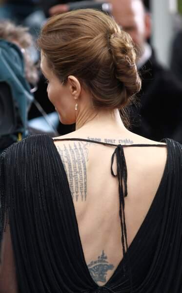 Les plus beaux tatouages sur le dos : Angelina Jolie