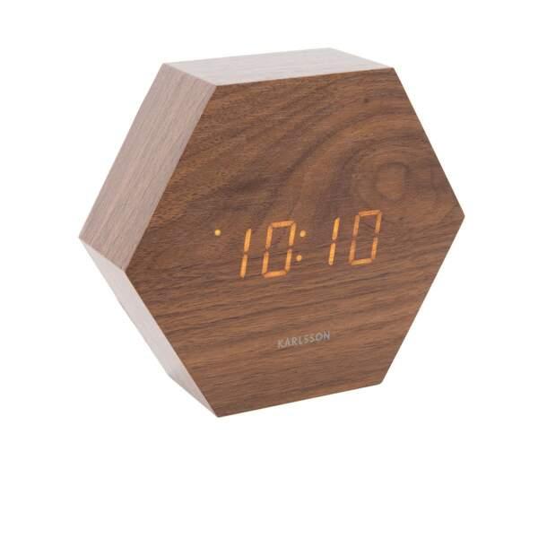 Notre sélection de cadeaux pour homme : Réveil hexagone marron, Fleux, 34,90 euros