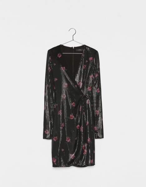 Robe avec imprimé fleurs et paillettes, Bershka, 45,99€
