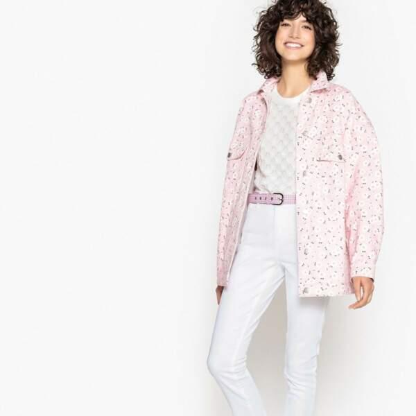 Veste en jean oversize rose à fleurs, La Redoute, 30 euros