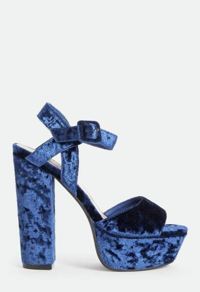 Sandales hautes en velours, JustFab, 39,95€