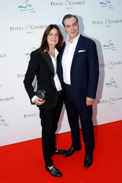 Hélène Medigue et  Samuel Labarthe sur le tapis rouge des 90 ans de Line Renaud à Paris
