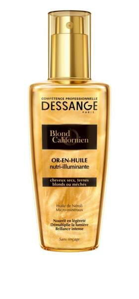 Blond Californien Or-en-huile nutri-illuminante, 9,95 €, Dessange Compétence Professionnelle.