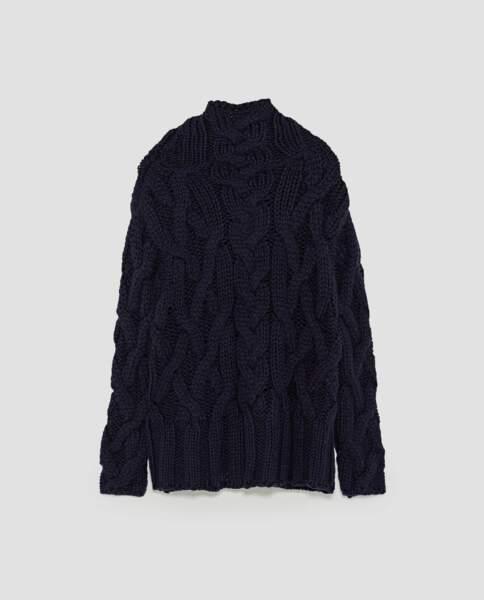 Zara : Pull à torsades oversize, 29,99 euros au lieu de ,39,95 euros