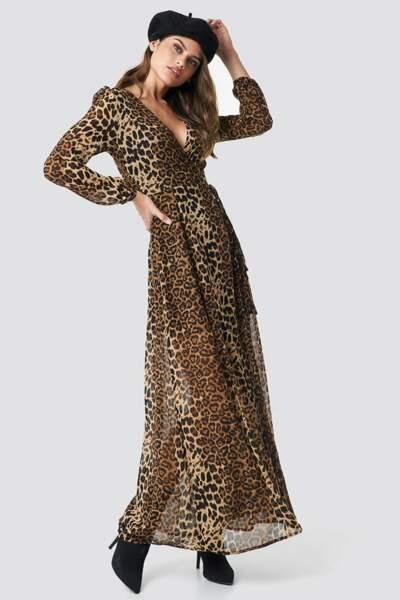 Robe longue imprimée léopard, Na-kd, 66,95€