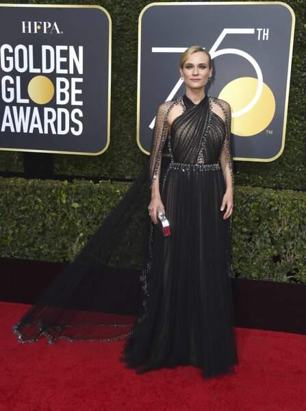 Diane Kruger en Prada lors de la 75e cérémonie des Golden Globes, le 7 janvier 2018