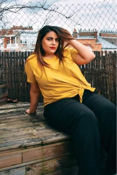 Tee-shirt jaune avec noeud, Persona by Marina Rinaldi sur Pampleon, 72 euros