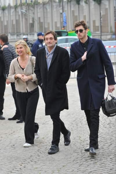Michèle Laroque, Pierre Palmade et Jean-Baptiste Maunier, à l'enterrement de Véronique Colucci