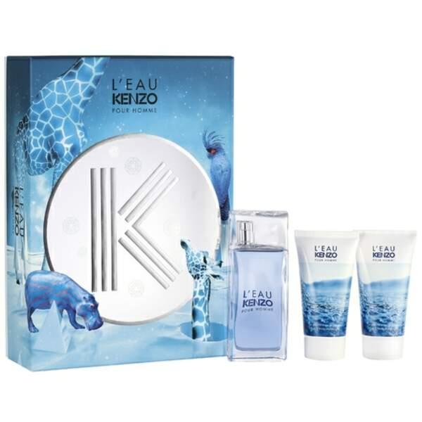 Notre sélection de cadeaux pour homme : Coffret Kenzo homme, eau de toilette 50 ml + 2 gels douche, 58 euros