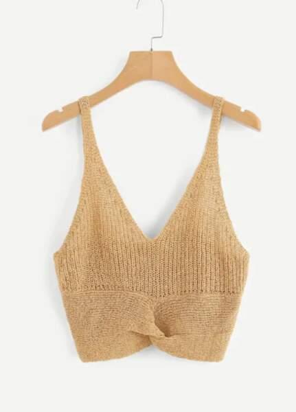 Top en maille tricot avec noeud et décolleté plongeant, Shein,7€