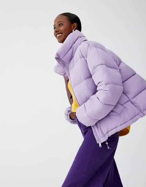 Doudoune lila, Pull&Bear, actuellement à 29,99€