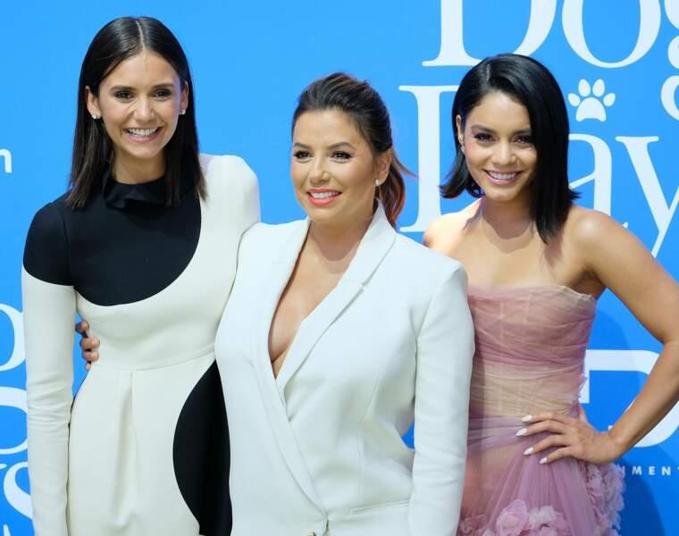 Eva Longoria, Vanessa Hudgens et Nina Dobrev à l'avant-première du film Dog Days, à Los Angeles