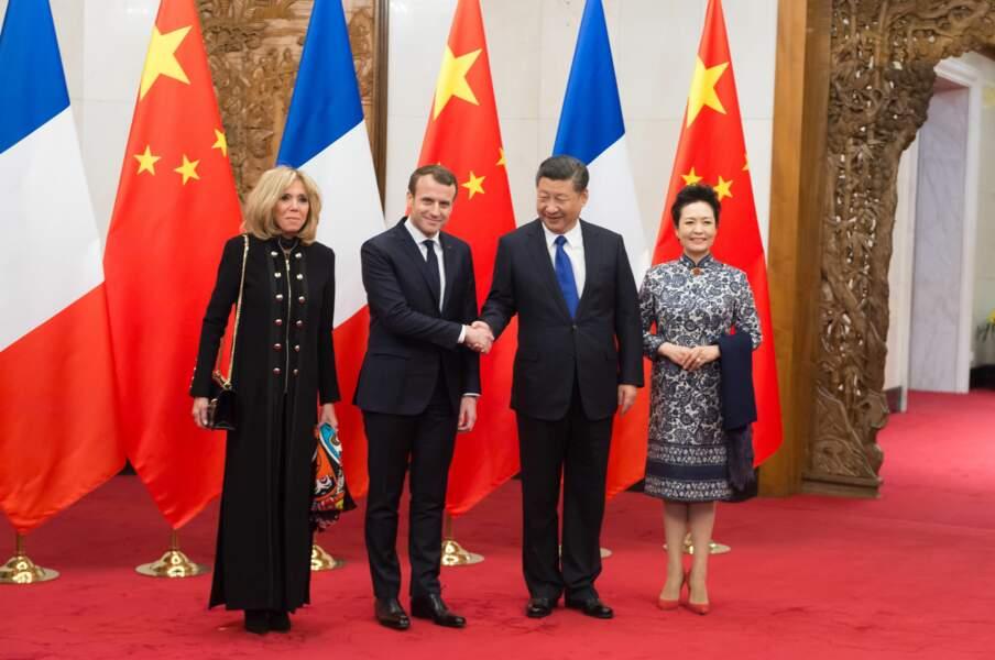 Emmanuel Macron et Brigitte Macron rencontrent Xi Jinping et Peng Liyuan