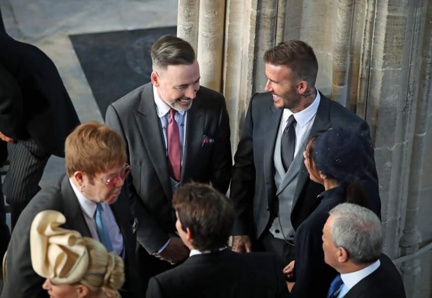 Elton John et Dave Furnish, avec David et Victoria Beckham au mariage d'Harry et Meghan