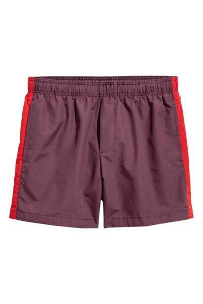 Short de bain bordeaux rayé rouge, H&M, 19,99€