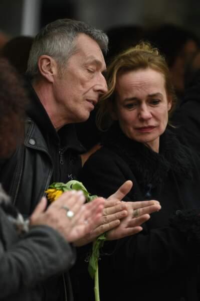 Sandrine Bonnaire aux obsèques de Jacques Higelin, au cimetière du Père-Lachaise, le 12 avril 2018