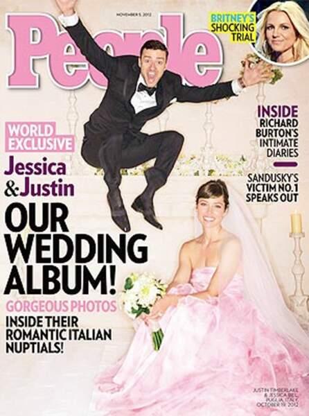 Robes de mariée de stars : Justin Timberlake et Jessica Biel en 2012. La robe est rose