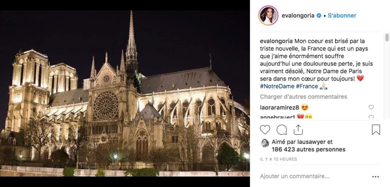 Eva Longoria... qui a écrit son post en français