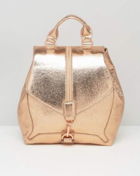 Asos Skinnydip sac à dos avec fermeture éclair sur le devant - or rose métallisé 42,99€