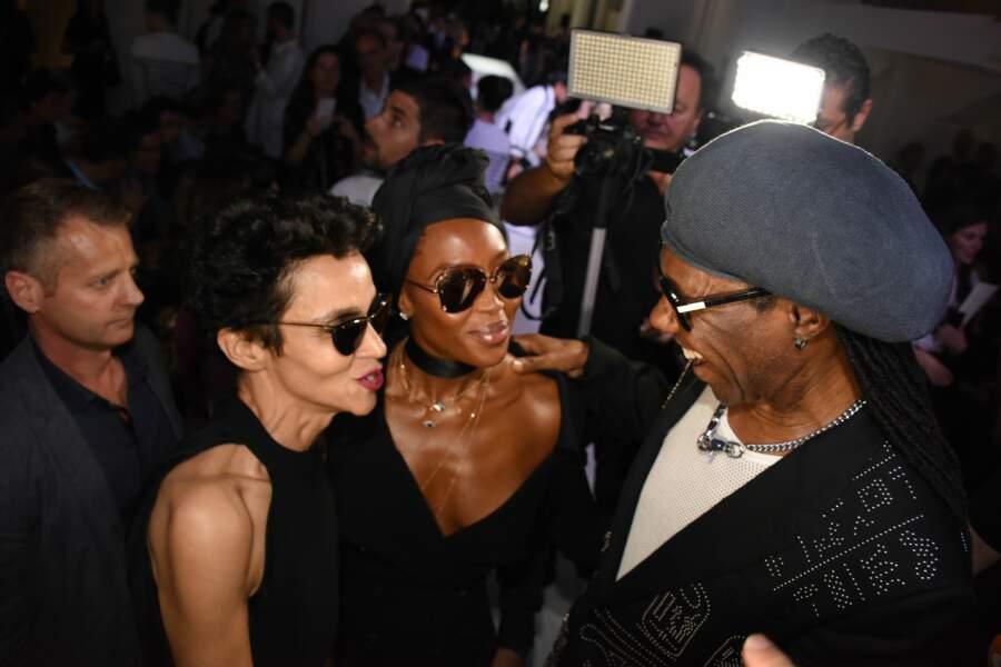 Farida Khelfa, Naomi Campbell et Nile Rodgers au défilé Jean Paul Gaultier