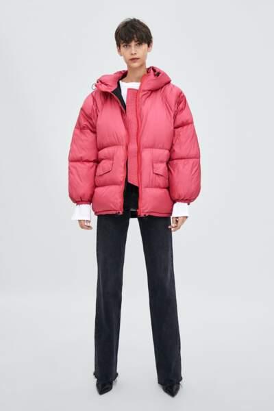 Doudoune rose framboise, Zara, actuellement à 29,99€